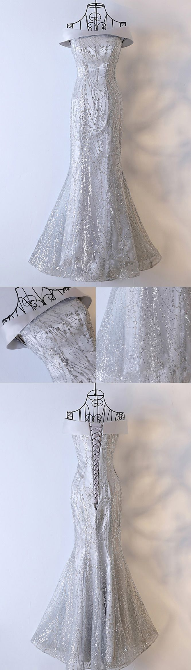 Only $118, Prom Dresses Sparkly Silver Long Mermaid Prom Dress Off The Shoulder #MYX18134 at #GemGrace. View more special Prom Dresses,Evening Dresses now? GemGrace is a solution for those who want to buy delicate gowns with affordable prices, a solution for those who have unique ideas about their gowns. 2018 new arrivals, shop now to get $10 off!