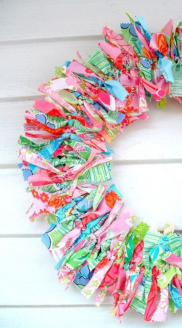 Lily Pulitzer fabric rag wreath...I saw this and thought of you @Michelle Garnett!