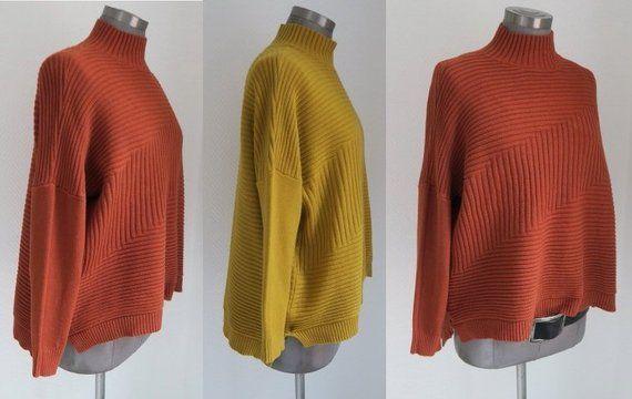 Rollkragenpullover, Rolli rost, Pullover orange braun