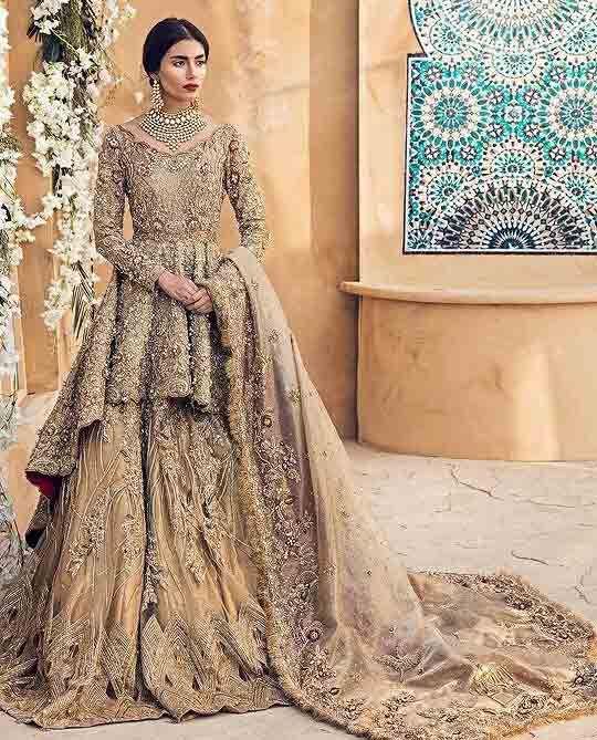 9644a9eb32 Latest golden peplum frock lehenga for Pakistani wedding brides ...