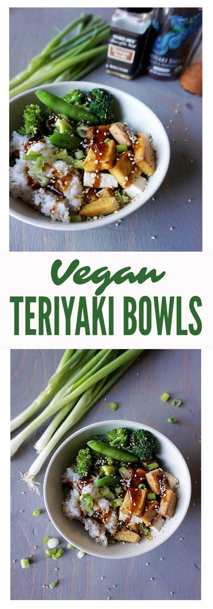Vegan Teriyaki Bowls (check ingredients on Teriyaki sauce to ensure vegan and GF, and use brown rice or quinoa rather than white rice)