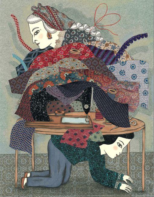 """Delphine Jacquot illustration for """"Le Fil de Soie""""."""