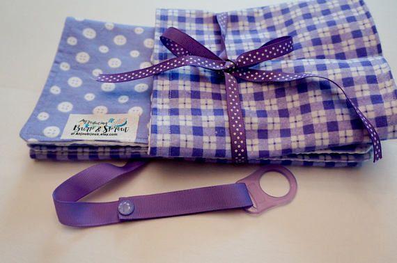 Burp Cloths Purple Burp Cloth Set Baby Shower Gift Set