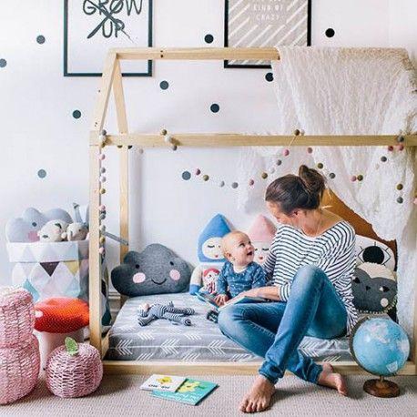 cama casita montessori, camas infantiles, dormitorios infantiles, cuna