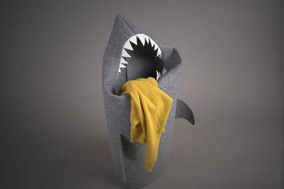 Felt Shark Laundry Hamper.