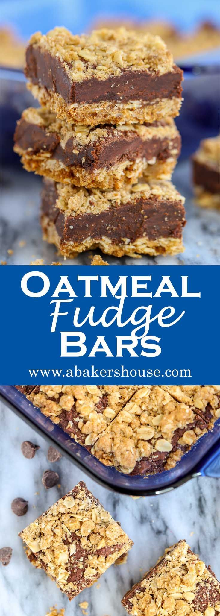 Oatmeal Fudge Bars may become your most requested dessert. A thick fudge-like layer of chocolate is sandwiched between a crunchy oatmeal base and a crumbled oatmeal topping.