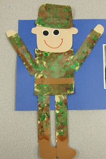 I just could not wait another second!  I had to post our art project from today!  We talked ALL day about the upcoming Veteran's Day holiday...