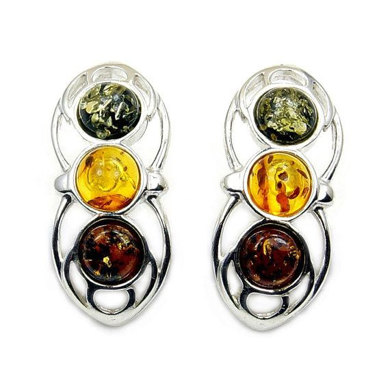 Multicolor Amber Sterling Silver Fashion Charming Stud Earrings 7xPDQSRDr