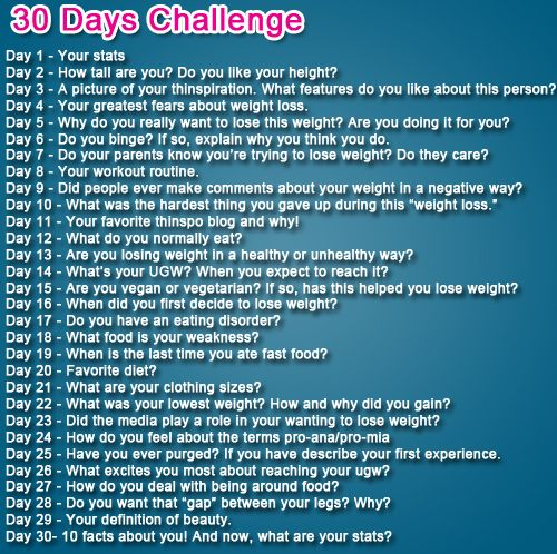 30 Days Weight Loss Challenge.   Looks like a good way to keep motivated and to keep your weight loss foremost in your mind.