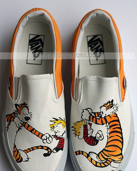 custom Calvin and Hobbes Shoes Slip-on Painted Canvas Shoes,Slip-on Painted Canvas Shoes