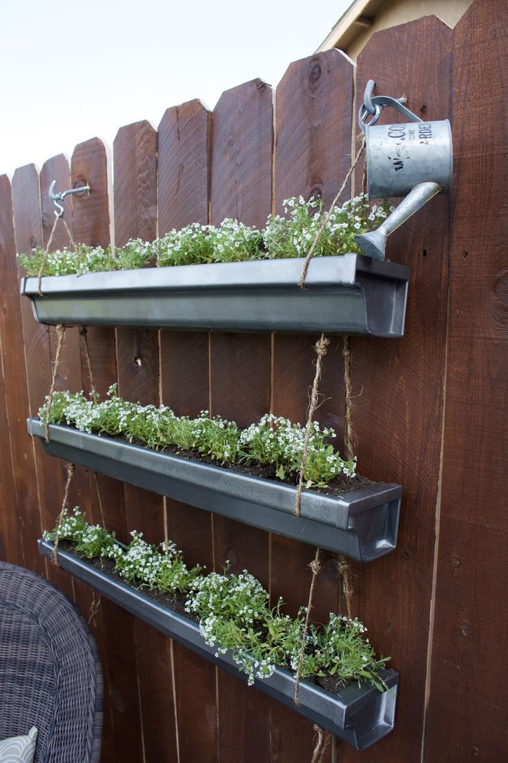 148 best gardening with rain gutters images on pinterest for Rain gutter planter box