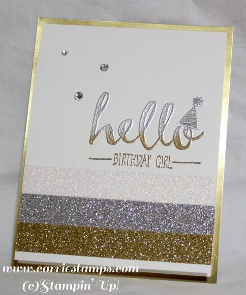Carrie Rhoades, Carrie Stamps: Stampin' Up! Glitter Tape; heat embossing