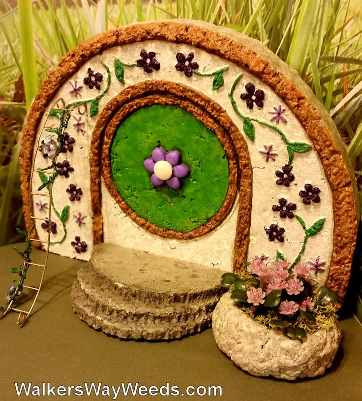 Miniature Garden Flower Hobbit House Front Kit Handmade Painted Papercrete one-of-a-kind OOAK Recycled Materials by WalkersWayWeeds on Etsy