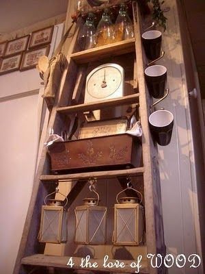 cute use of rustic ladder in kitchen