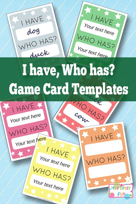 Free Printable I Have, Who Has? Template - Learning Games for Kids Great learning game for all subjects! I especially like it for + - x ÷ reviews and learning vocabulary in any subject.