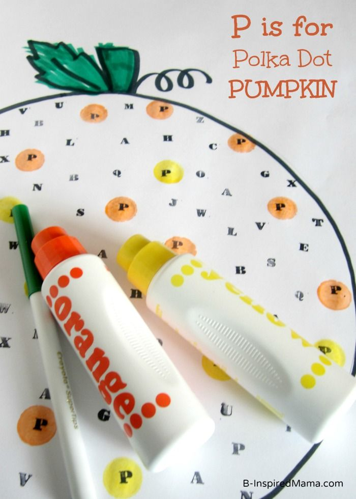 business tote P is for Polka Dot Pumpkin from  B Inspired Mama  This Halloween activity is a fun and educational way to teach letter recognition to children