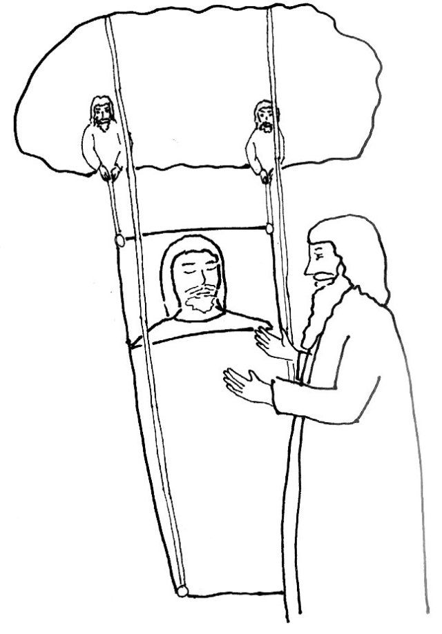 Bible Story Coloring Page For Jesus And The Man With Palsy Bible