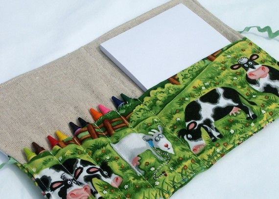 Crayons, notepad, artwork....Coloring Case Wrap sewing tutorial...