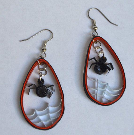 Paper Quilled Earrings // Copper Orange Black Gray // by OnACurl