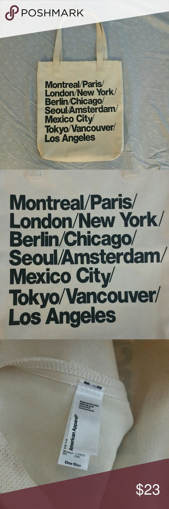 American Apparel cities tote bag Cute canvas tote bag from AA! This is sold out from stores already, get it while you can! Can be worn as a shoulder bag or handbag NWOT American Apparel Bags Totes