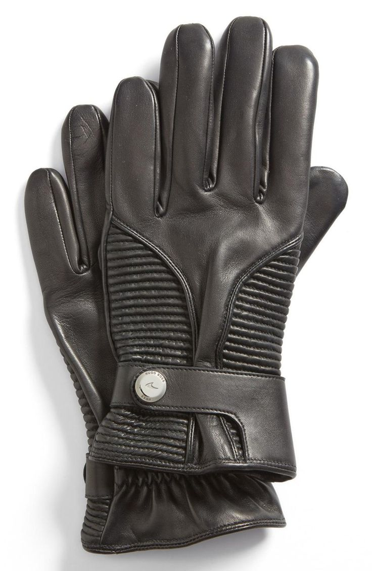 Brown vs black leather gloves - Boss Hugo Boss Hoven Leather Gloves Mens Grey Gloves Love