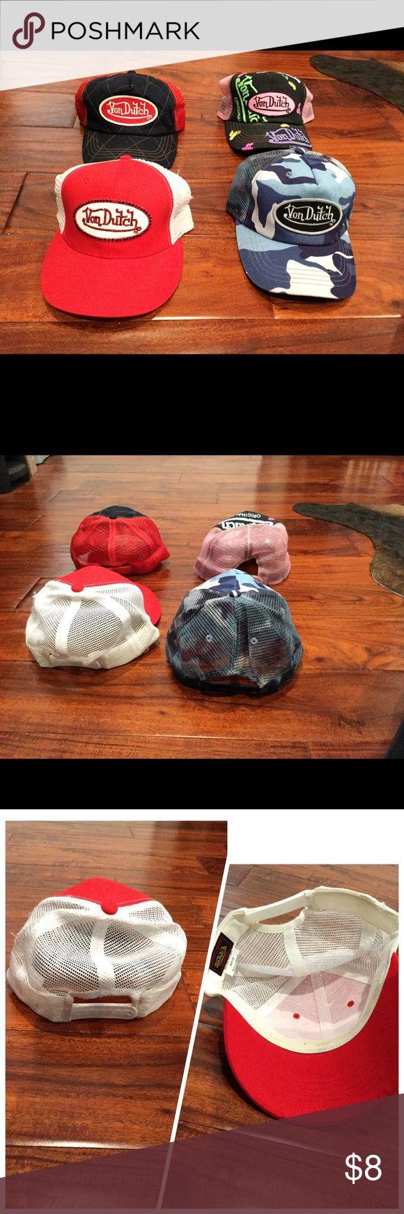 💯 Von Dutch Hats Authentic Von Dutch trucker hats. Adjustable with Mesh back. Only the pink denim hat is available. excellent condition. $8 Von Dutch Accessories Hats