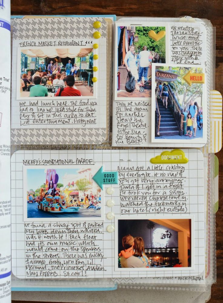divided page protectors with LOTS of journaling and small photos to document a trip. (She took the photo printer with and did most of it ON the trip.) Love this concept, since I like to do a lot of writing.