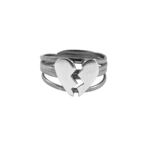 Sterling silver .925 ring broken heart oxidized by DawidPandel, zł89.00
