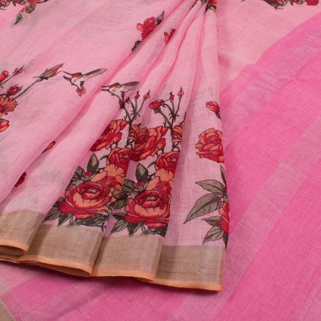 Hand Printed Linen Saree With Floral Motifs & Zari Border 1