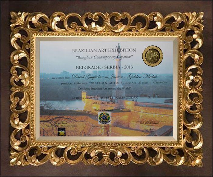Certificado da Premiação - Exposição de Arte em Belgrado Jóias Carmine