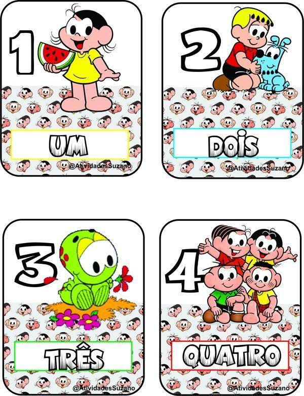 Cards De Numeros Turma Da Monica Em 2020 Atividades De