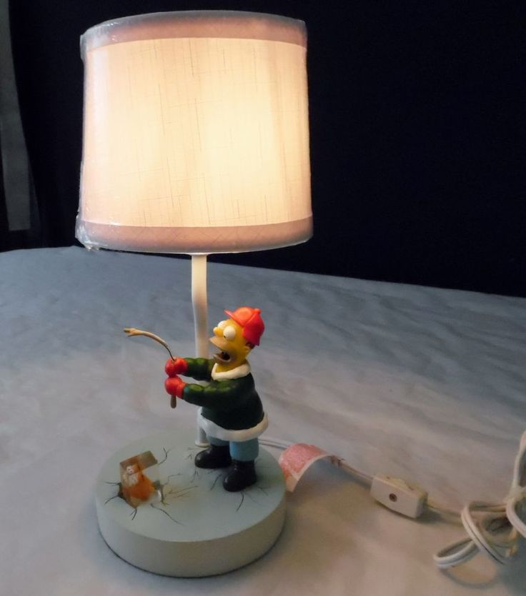 Rare The Simpsons Accent Lamp Homer Simpson Ice Fishing with ...
