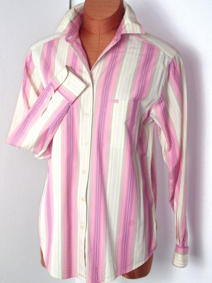 Women's FACONNABLE Classic Cotton Striped Pink Shirt, Size Small #Faconnable #Shirt #Career