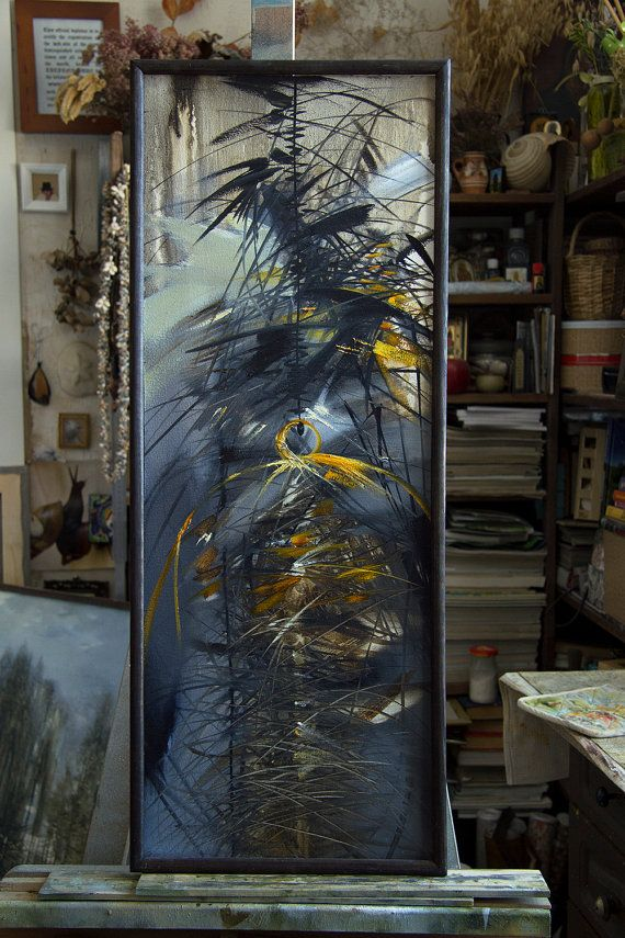 "Artist Tatyana Goodz. Oil painting ""Cage"" original artwork  diptych triptych wall art unique bird plant glass abstract art one of a kind vertical canvas yellow"