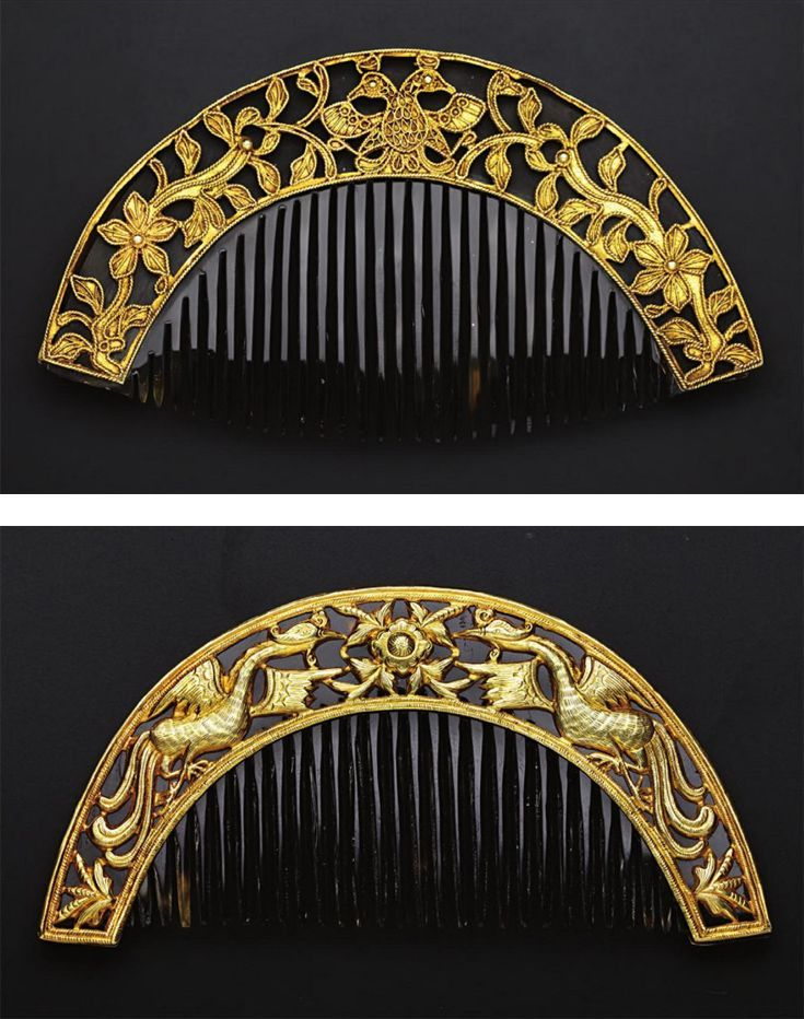 Indonesia ~ Sumatra or Java | Combs with bird, and phoenix and peony motifs; gold, tortoiseshell, glass cabochons | Peranakan Chinese | 19th or early 20th century | Source: 'Gold Jewellery of the Indonesian Archipelago