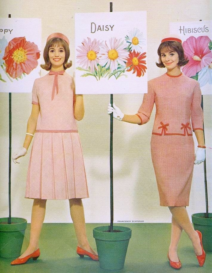 Pink fashions in Seventeen, March 1961. (♥)
