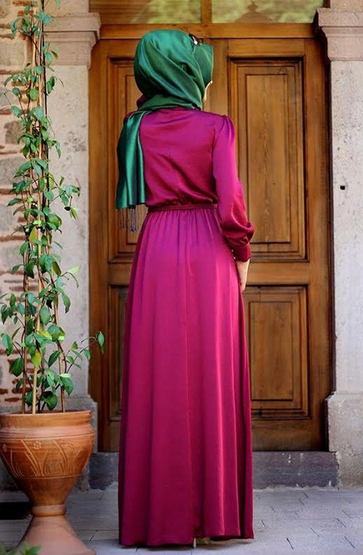 Pınar Şems - Beli Büzgülü Elbise Fuşya