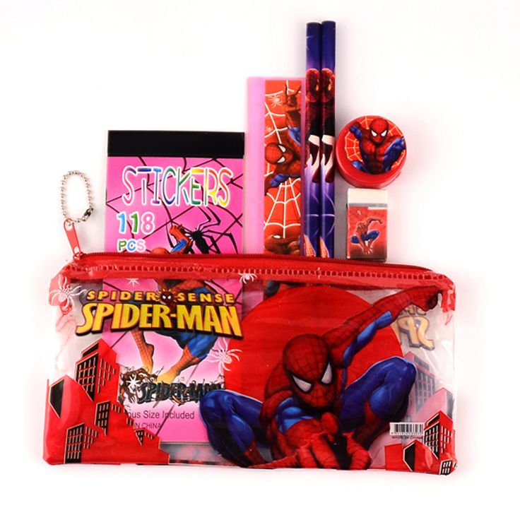 1 Set Kawaii Pencil Case For Children Spiderman Sticker School Supplies  Cute Korean Pencil Case School
