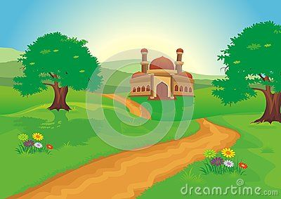 Mosque with beautiful natural scenery - cartoon design,  beautiful view, pretty…