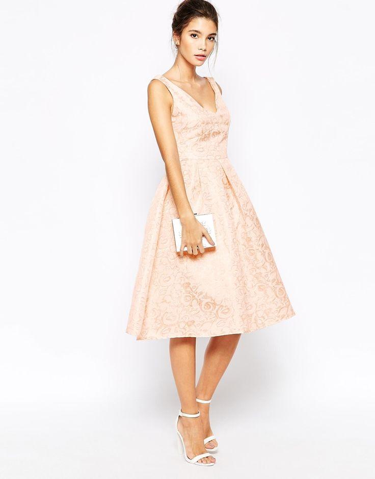 Image 1 ofTrue Decadence Rose Gold Jacquard Midi Prom Dress
