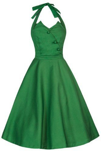 Amazon.com: Lindy Bop 'Myrtle' Classy Vintage 1950's Halter Neck Flared Swing Party Dress: Clothing