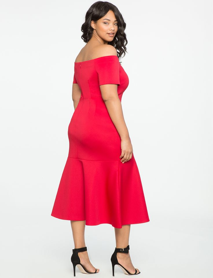 Off the Shoulder Trumpet Gown CHERRY