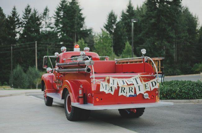 decorated vintage Redmond fire truck wedding getaway car