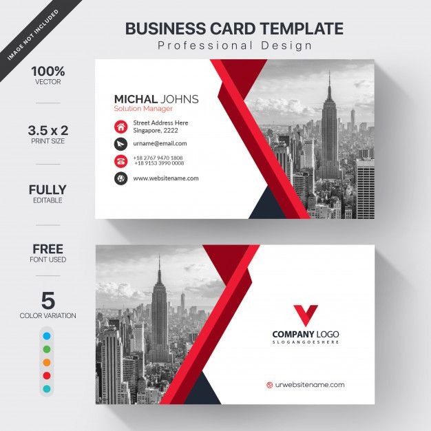Download White Business Card With Red Details For Free White Business Card Professional Business Card Design Business Cards Creative