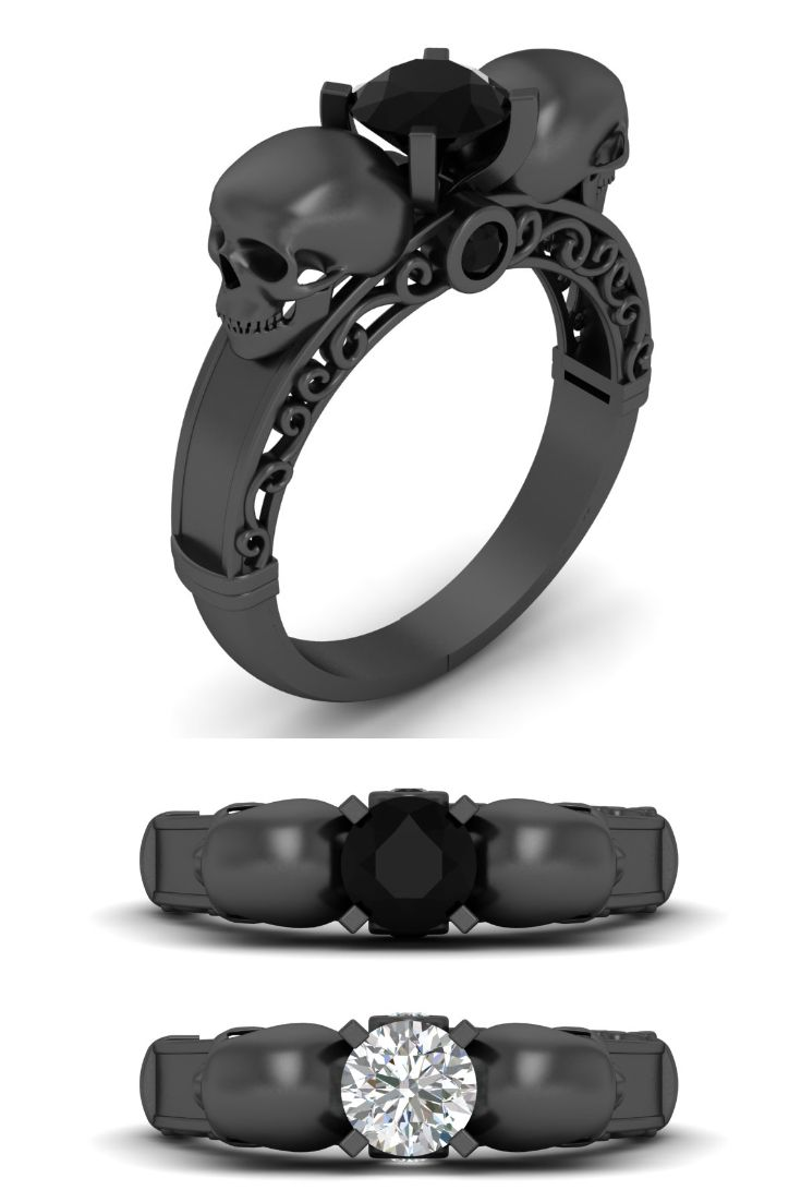 Black Diamond Filigree Skull Ring For Women At Cheap Price Skull