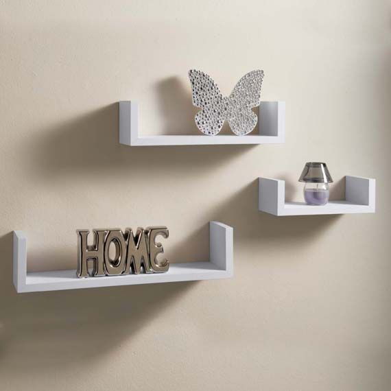 Capri Floating Wall Shelves 3 Set White desktop.info.alt_image