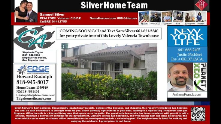 91355 home with 2 bedrooms for sale - Call 661-621-5340 Sam Silver HomeSmart NCG  https://gp1pro.com/USA/CA/Los_Angeles/Valencia/Fairways_East/25761_TOURNAMENT_Road.html  Find your way Home with Sam Silver's Help 661-621-5340 HomeSmart NCG CalBRE 01412755  Want to know more about any homes in the area?   We Can Help…  Call, Text, or Email Today   for all your Los Angeles Real Estate Needs  It could cost you thousands if you don't!   Buying or Selling in Los Angeles County – Call Me Today…