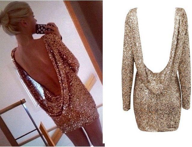 Sexy Sequin Kleid Dress Rückenfrei Gold Cocktailkleid Abendkleid Pailletten Hot