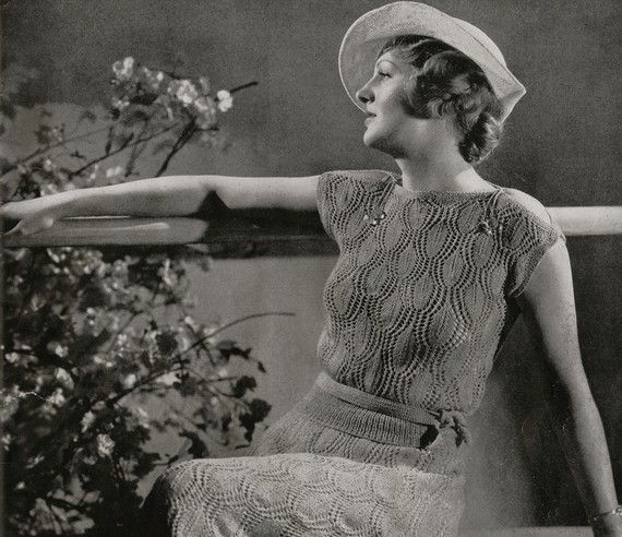 PDF of Minervas Laurel Two Piece Crepe Dress and Boucle Hat Vintage Knitting Pattern, c. 1934