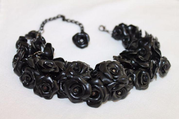 Women Bracelet Earrings Jewelry Set /Flower Blak Roses /Handmade #Handmade #Charm